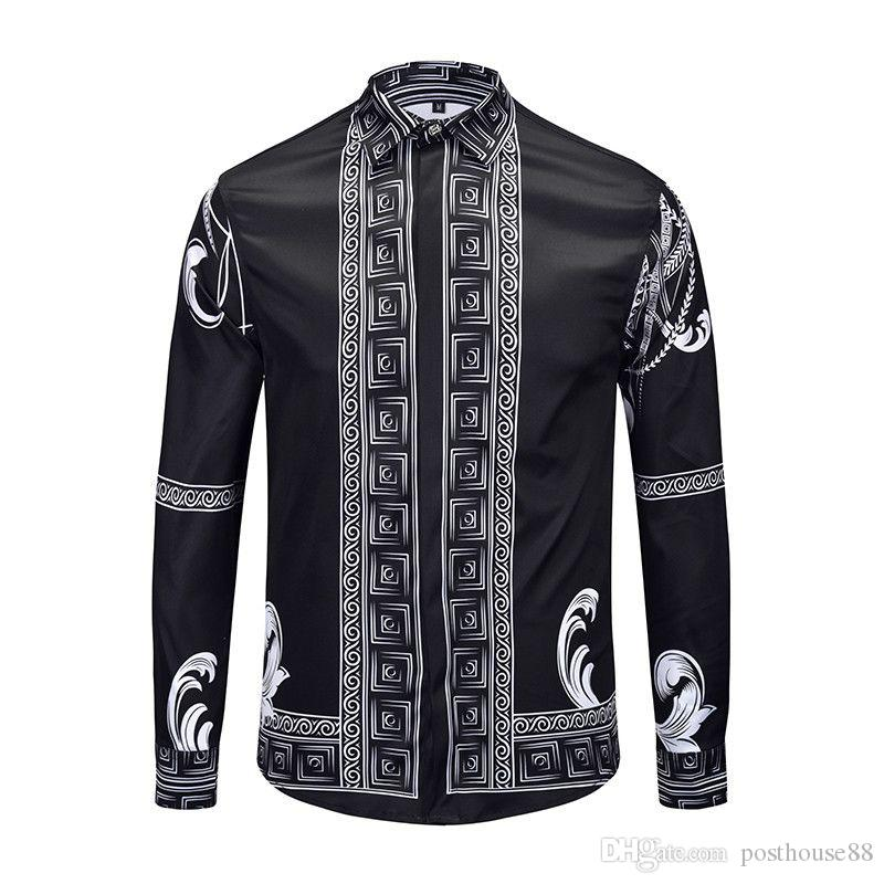 Новый роскошный дизайн мужской рубашки 3D Color Цветочные принты с длинным рукавом мужские рубашки Medusa casual Shirts