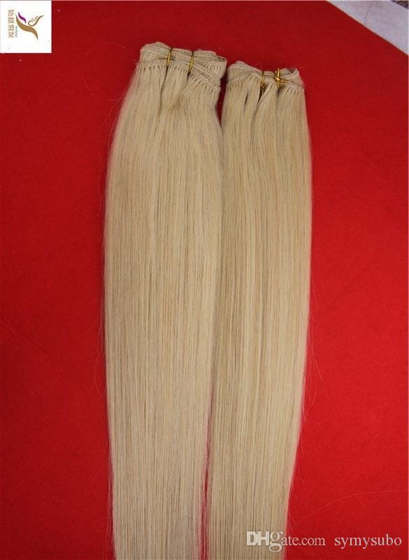 Malese # 60 Platino Biondo Colore Capelli Lisci Tesse 100% Tessuto Capelli Umani 10-30 Pollici Estensioni Dei Capelli Remy