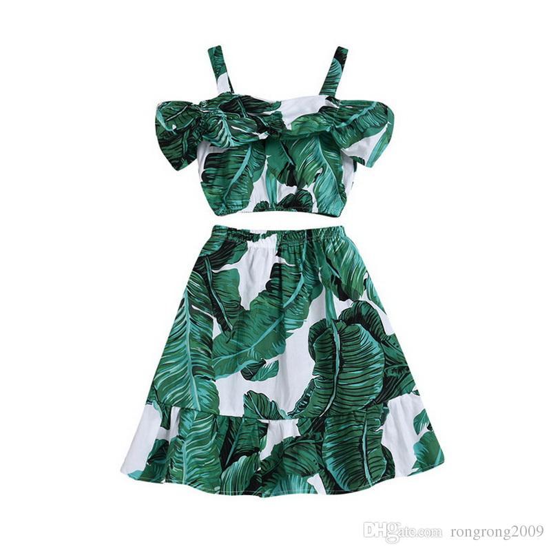Abbigliamento all'ingrosso 2 pezzi di abbigliamento verde Banana Leavle Off The Shoulder Camicie vestito floreale Abbigliamento bambini E52206