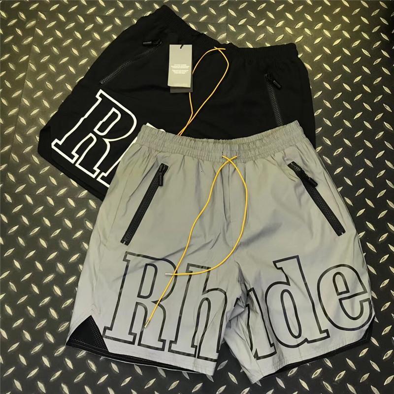 3M Reflective Rhude Shorts Men Women 1:1 High Quality Streetwear Shorts Fashion Casual Hip Hop Beach Sportswear Rhude Shorts SH190907