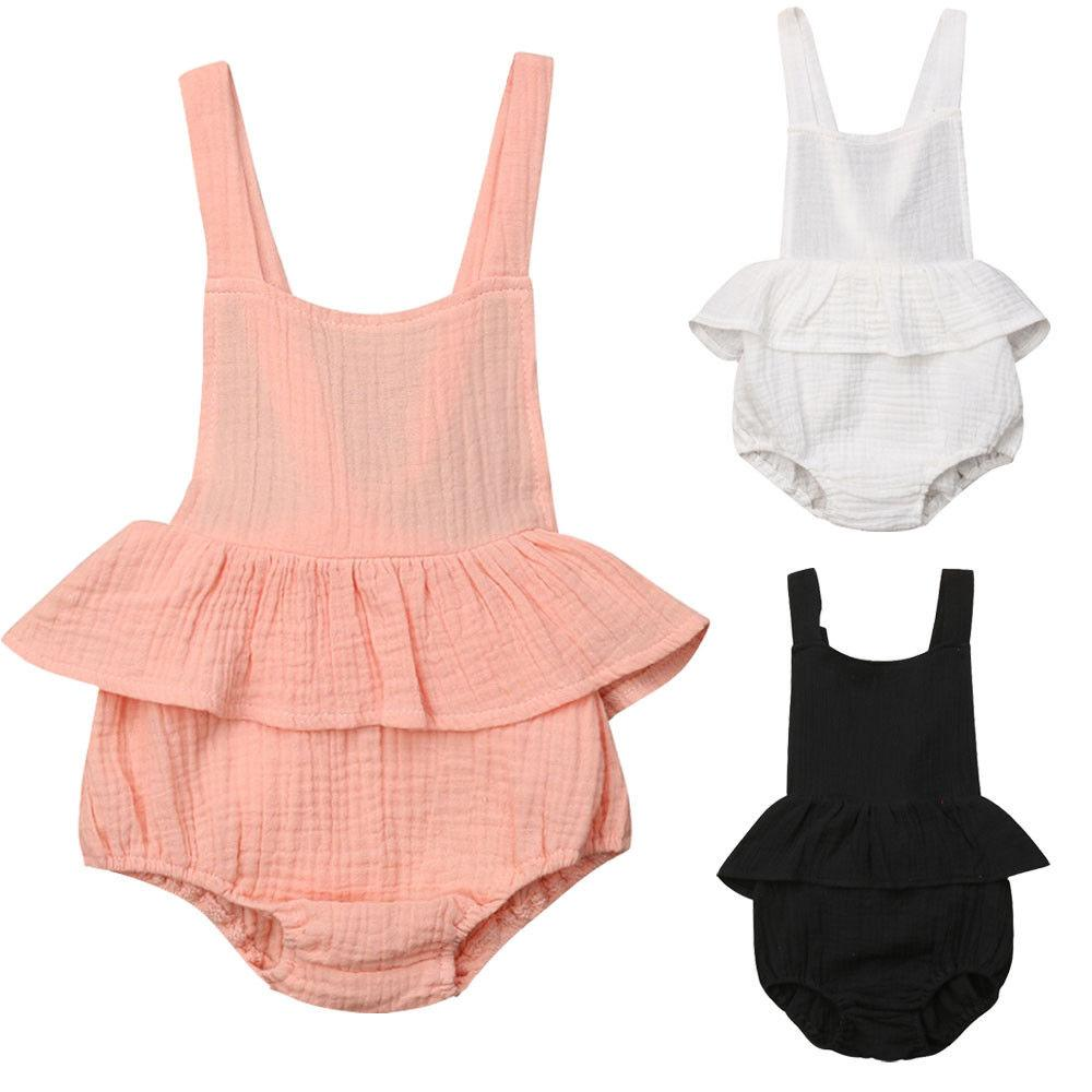 Newborn Baby Girl Summer Solid Romper Jumpsuit Outfits Sunsuit Clothes Lovely Baby Girl Clothes