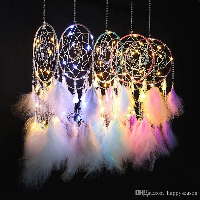LED Light Dream Catcher Feathers Car// Home Wall Hanging Decoration Ornament Gift