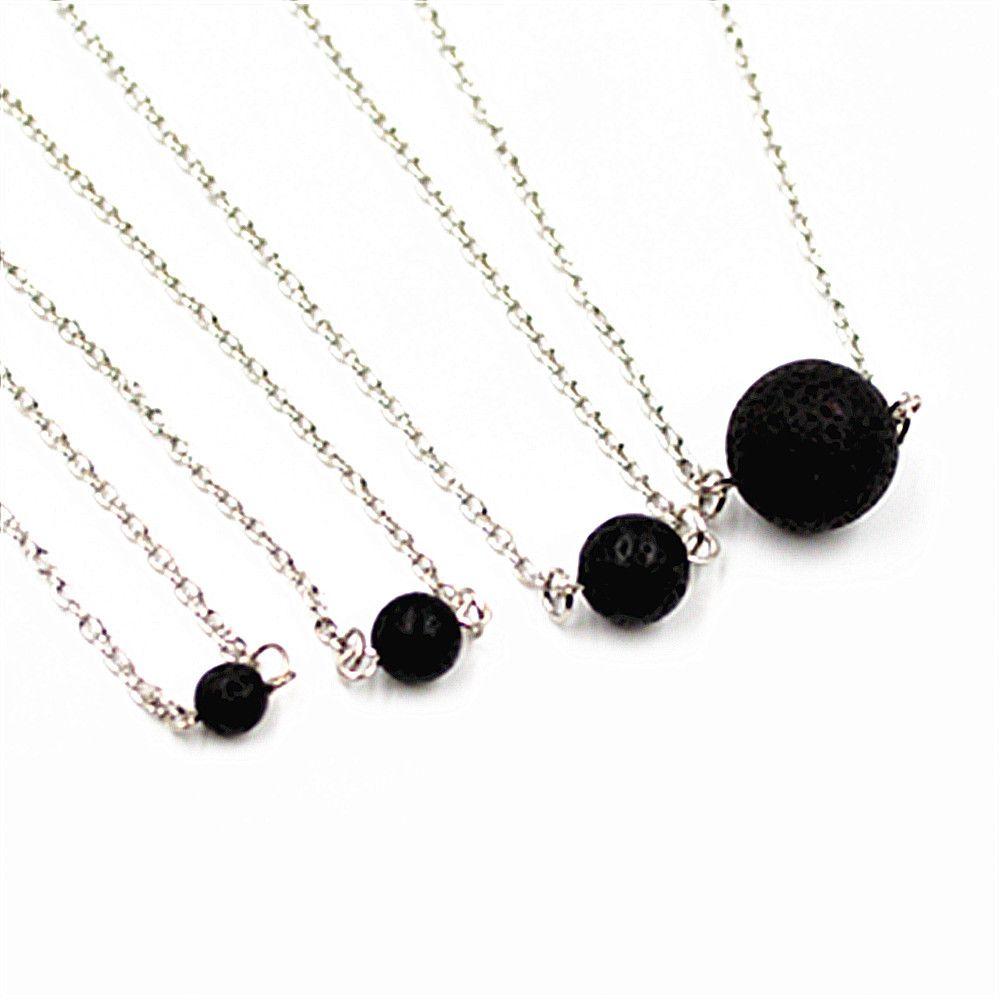 Мода 6 мм 8 мм 10 мм натуральный лавовый камень ожерелье вулканическая порода ароматерапия эфирное масло диффузор Ожерелье для женщин ювелирные изделия