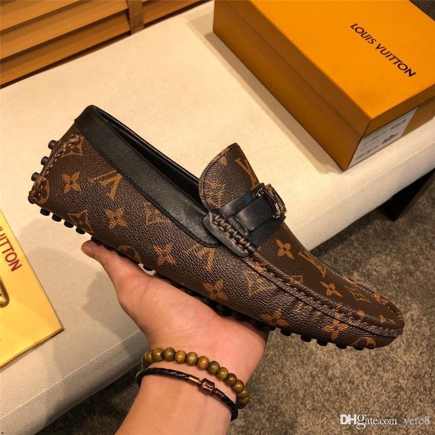 Soft 20WR Hight calidad de la manera del cuero holgazanes del hombre de talla plena flor de la borla de zapatos de hombre Barco resbalón en los zapatos de la franja de conducción de coche de verano YETC8