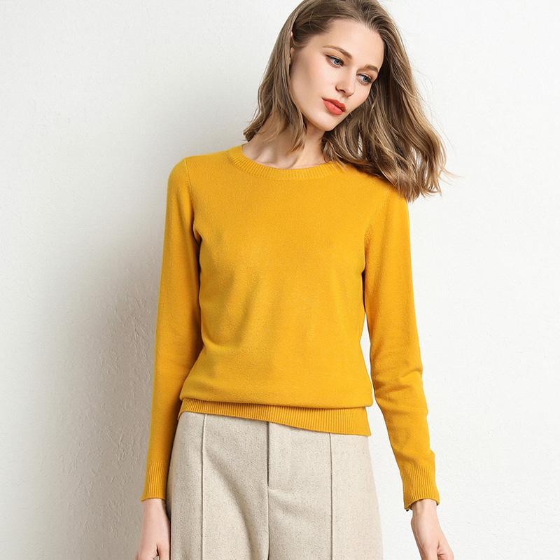Sıcak Satış Kadınlar Kazak Sonbahar Kış Giysileri Katı Yuvarlak Boyun Kazak Jumper Uzun kollu Örme Kazaklar Gömlek Kadın Tops