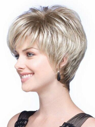 Perruques blondes Feibin courtes pour femmes perruques synthétiques droites naturelles postiches