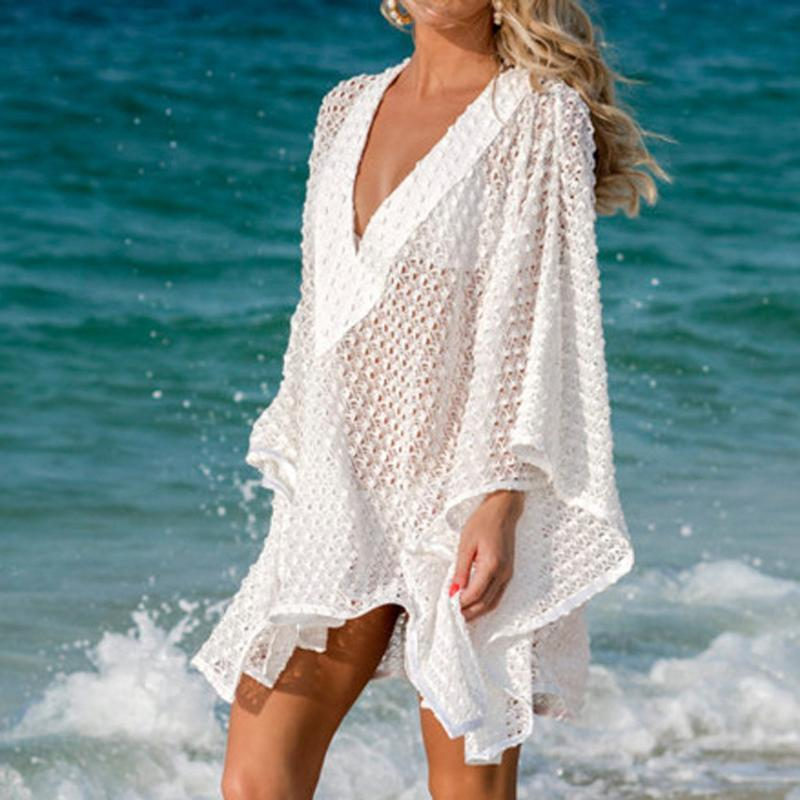 Sexy V Neck Lace See Through Bikini Women Swimsuit Cover Up Fashion Summer Beach Dress Cover Ups Bathing Suit Pareos Swim Smock