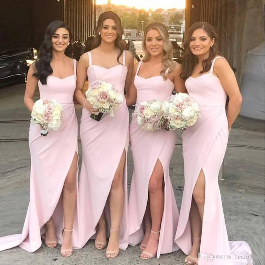 2020 Hot Pink Front Side Split Mermaid Bridesmaid Dress Long Spaghetti Neck Covered Zipper Back Maid of Honor Gowns Customize