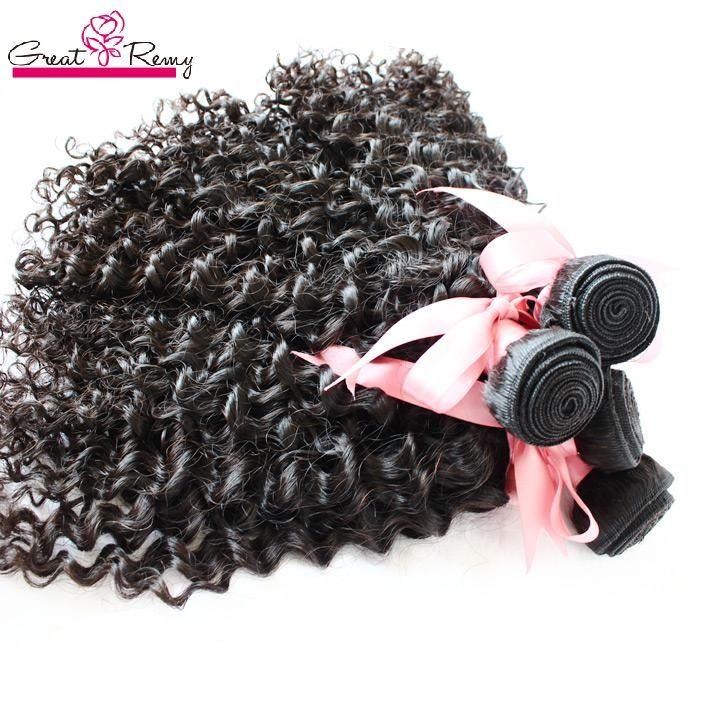 Greatremy® 3 Pçs / lote profunda trama de cabelo encaracolado tecelagem 100% brasileiro peruano peruano indiano virgem não processado HeadExtensões humanas