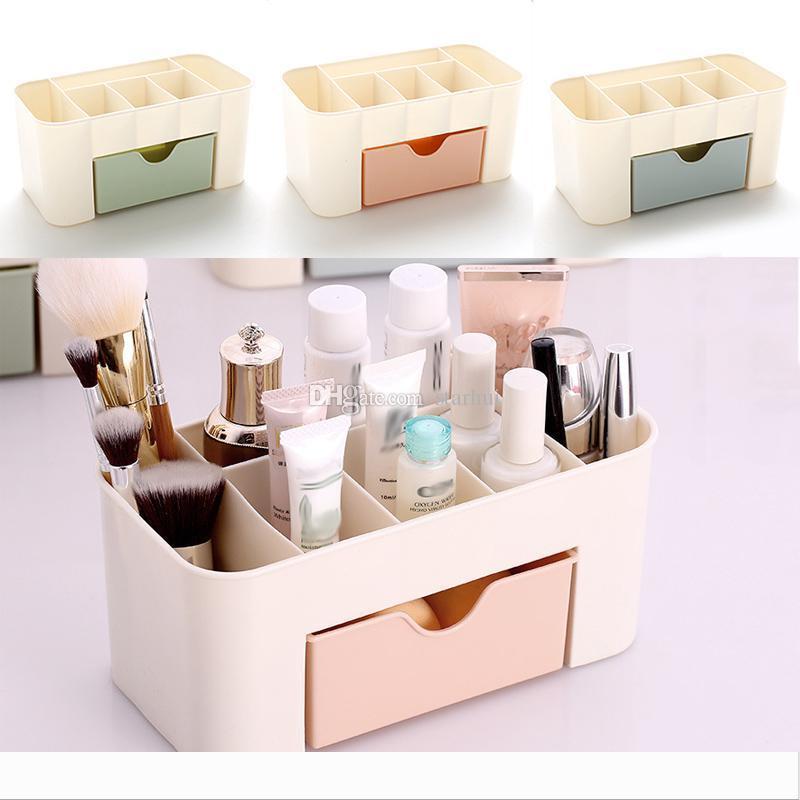 Multi-function Drawer-type Space Saving Plastic Cosmetics Storage Box Makeup Organizer Office Desktop Storage Bin Home Organization WX9-258