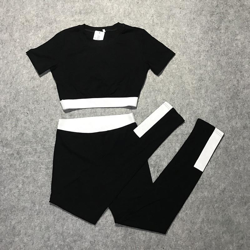 2020 yeni yaz Avrupa moda bayanlar yüksek bel kısa kollu mektup baskı kırpma üst tişört ve spor yoga uzun tozluklar twinset