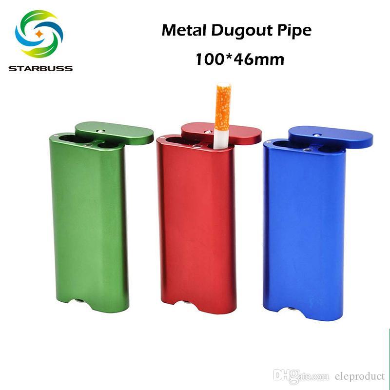 Metal Dugout tabaco de tubulação cigarreira 100 * 46mm Herb Grinders Com Dugout Casos de tubos de fumo Acessórios da tubulação do metal