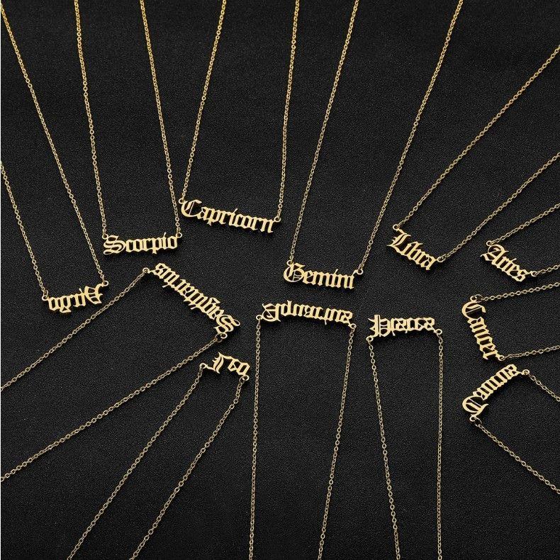 الأبراج 12 قلادة القلائد رسالة هدايا عيد الميلاد رجال نساء لون الذهب الفولاذ المقاوم للصدأ قلادة تميمة البروج مجوهرات جديد