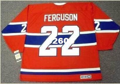 Mens # 22 JOHN FERGUSON Montreal Canadiens 1968 CCM Vintage RETRO Home Hockey Jersey o aduana cualquier nombre o número retro Jersey