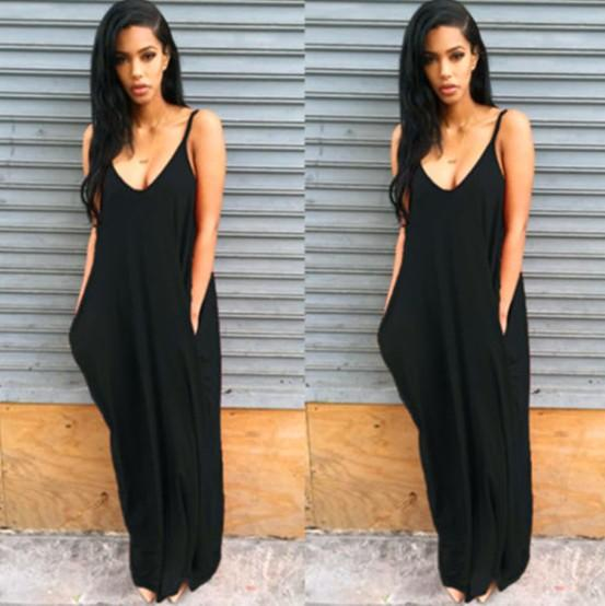 2019 дизайнер женщины лето платье пляж европейского и американского Нерегулярного Sling Глубокого V Карманный Дама платье макси платье оптовое