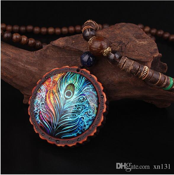 New design fashion peacock feather ethnic necklace,Nepal jewelry handmade sandalwood long sweater vintage jewelry necklace,