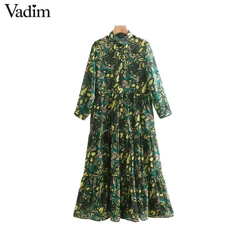 Vadim kadınlar baskı orta buzağı dress şifon three çeyrek kollu kadın casual midi elbiseler vintage a line elbiseler vestidos qb261 y19051001