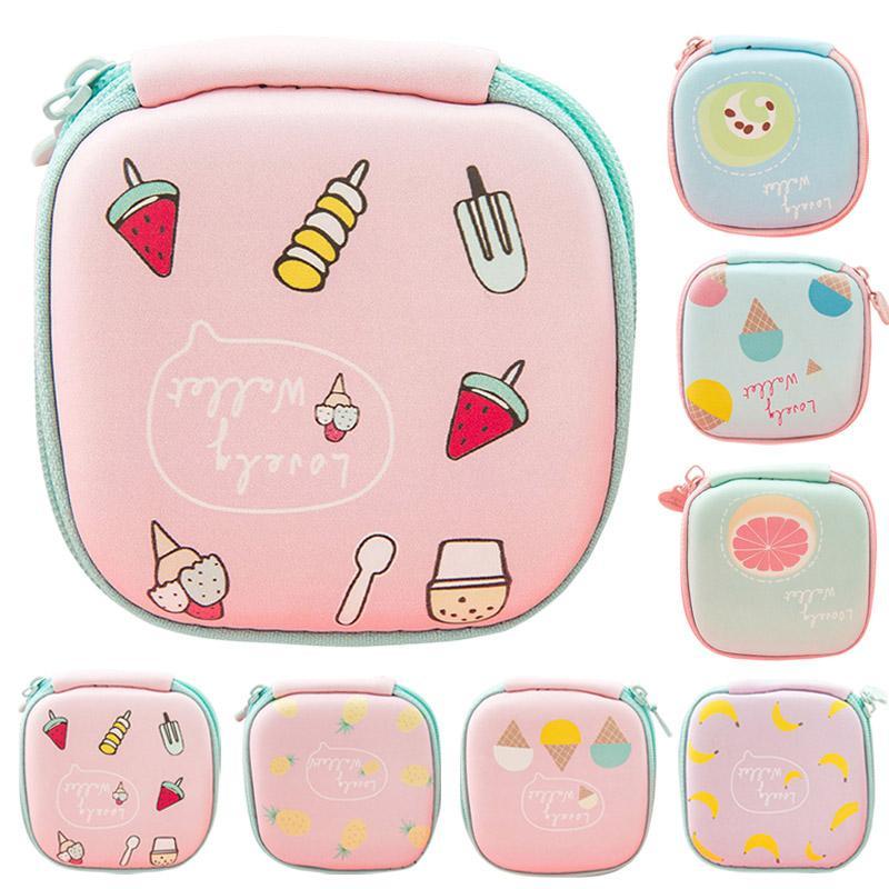 Новые моды девочек Cute Fruit печати Мини площади Деньги сумка сумка для наушников наушники SD Card Small Change Case Портмоне