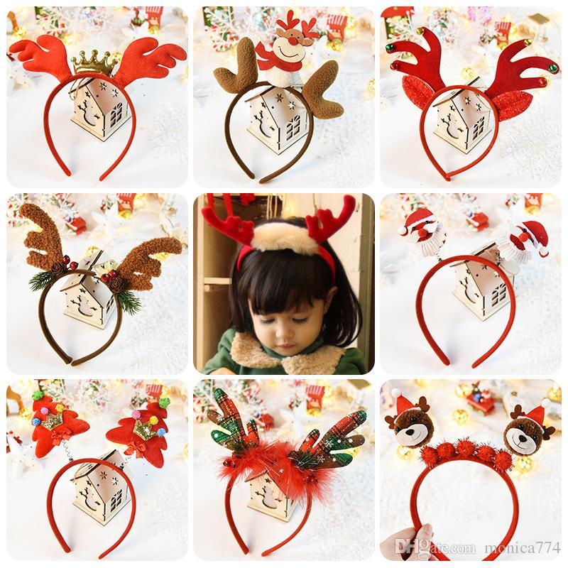 한국어 패션 여자 크리스마스 HO HO 헤어 스틱 아이 엘크 헤드 버클 헤드 밴드 만화 어린이 크리스마스 모자 눈사람 많은 M2 디자인