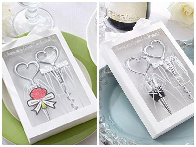 20pcs / lot (10boxes) Hochzeitsempfangsgeschenk von Jubel zu einer tollen Kombination Wein-Set-Party-Gefälligkeiten Braut und Bräutigam Flaschenöffner Stopper Hochzeitselemente