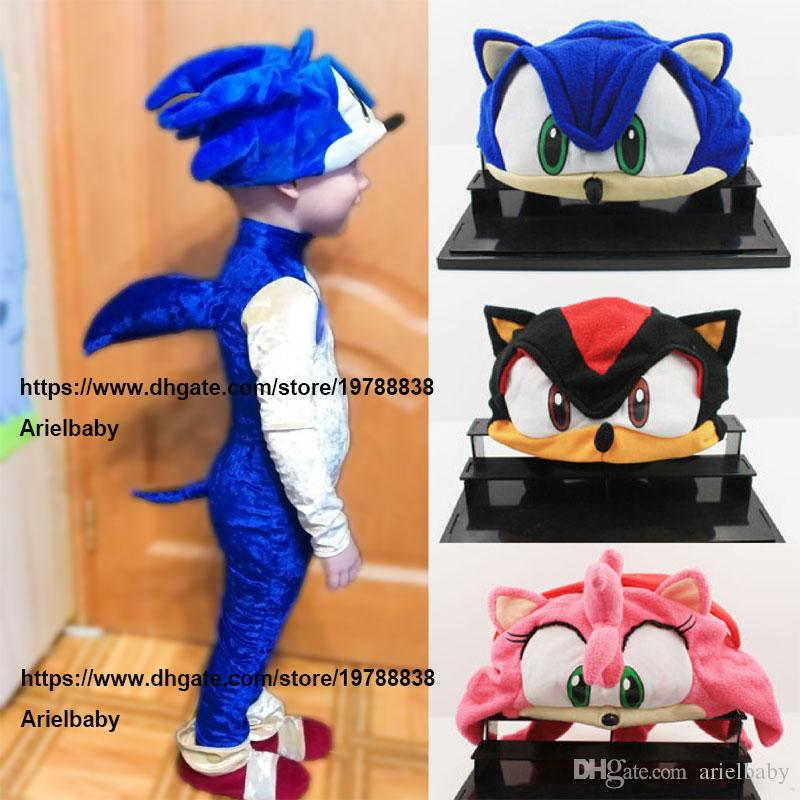 Sonic X FS Sonic The Hedgehog Fleece Cosplay Cap Anime Beanie Plush Hat Costumes Black Blue For Kids Teenagers Adults