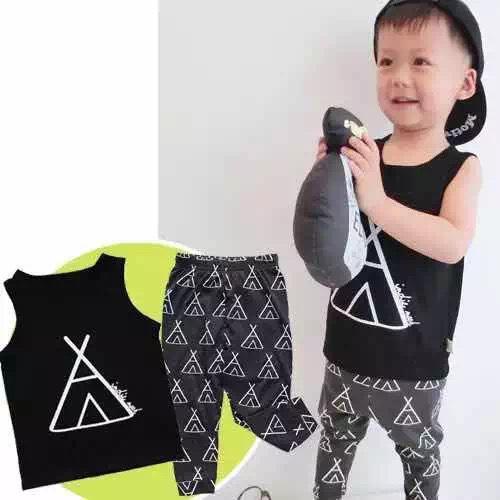 도매 -KIKIKIDS 어린이 의류 소년 소녀 Triangel Black 세트, 유아용 탱크 탑 바지, 아동복 여름 짧은