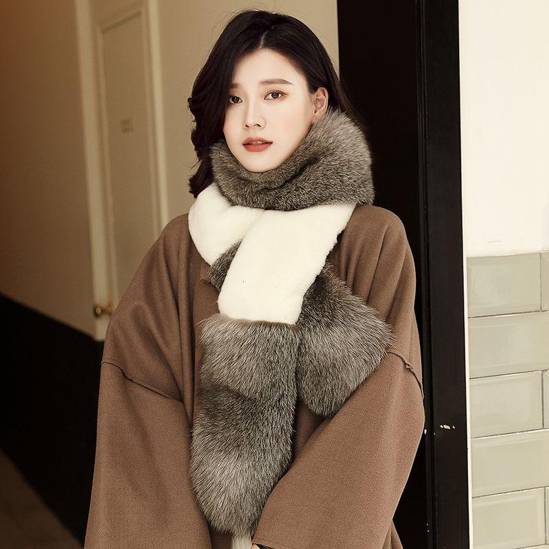 Lantafe Real Fur Women Scarf Winter Scarf Fox Fur Collar Widening Thickening Neck Warm Whole Rabbit Fur Long Style T191116