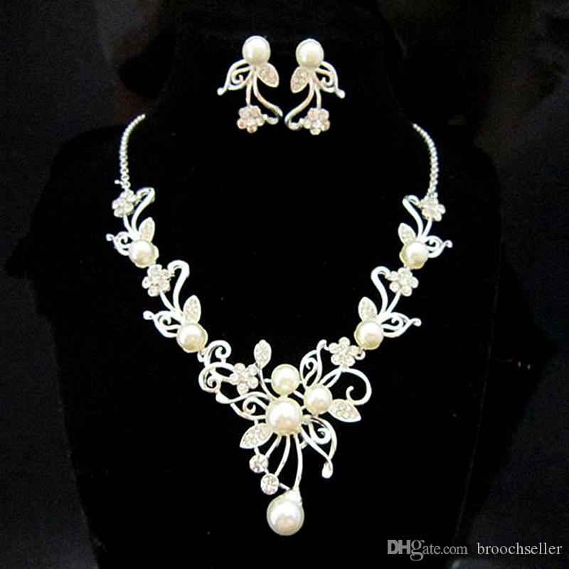 실버 톤 라인 석 크리스탈 꽃 웨딩 드롭 목걸이와 귀걸이 세트