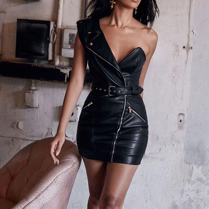Black Faux PU Leather Waisted Mulheres alta Vestido Belt de um ombro Mini Tubo Vestidos Ladies 2020 Sexy Bodycon Feminino Vestidos