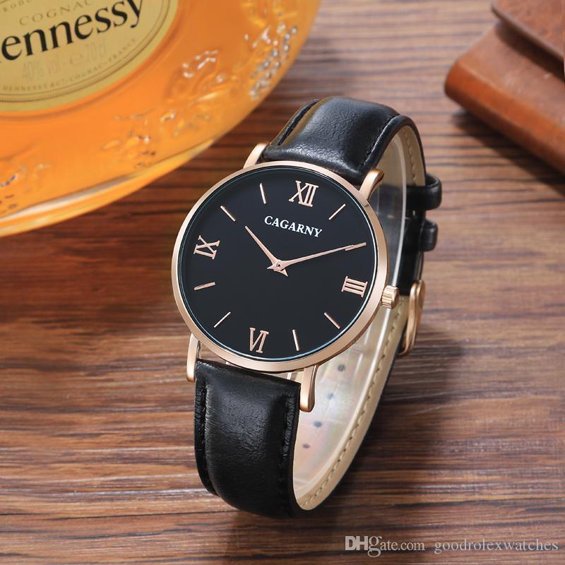 modo del regalo di lusso di vendita calda della vigilanza del quarzo acciaio inossidabile dell'oro di visualizzazione della data orologio movimento giapponese maschile maschile CAGARNY Relogio Ma
