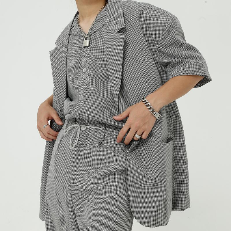 الرجال الدعاوى الحلل الرجال عارضة قصيرة الأكمام منقوشة سترة الذكور كوريا اليابان نمط الشارع الشهير الهيب هوب خمر أزياء بدلة معطف