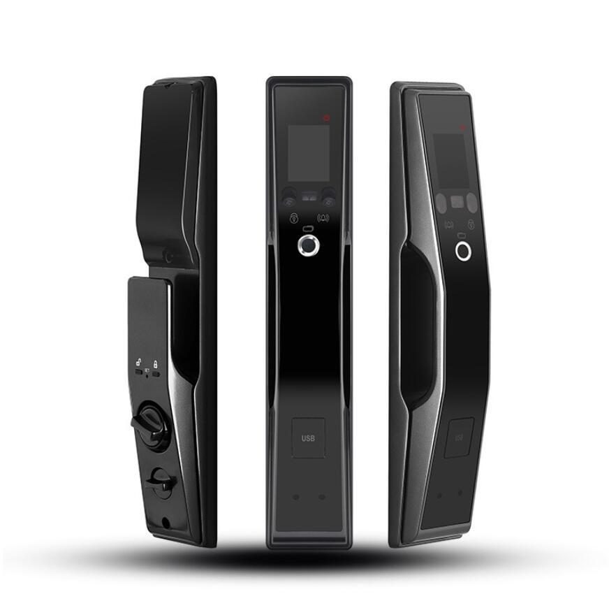 FX90 Empreinte digitale Serrure de la porte de reconnaissance du visage Serrure automatique de mot de passe anti-vol Ménage automatique Noir + Vente de détail exquise