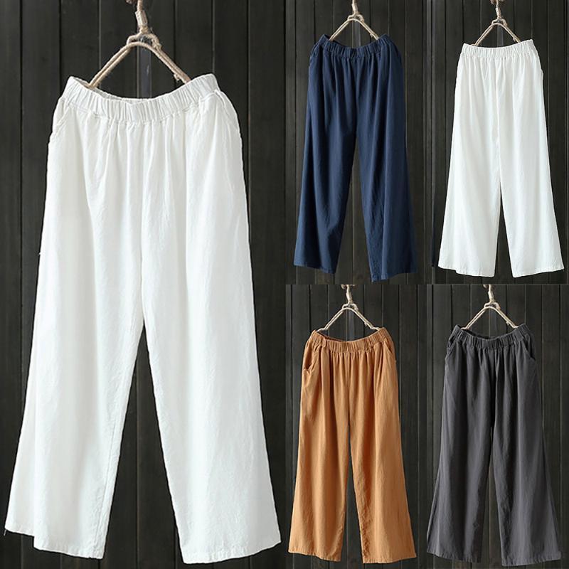 высокой талией женские летние брюки Palazzo высокой талией брюки хлопок Льняные брюки женщин свободные брюки