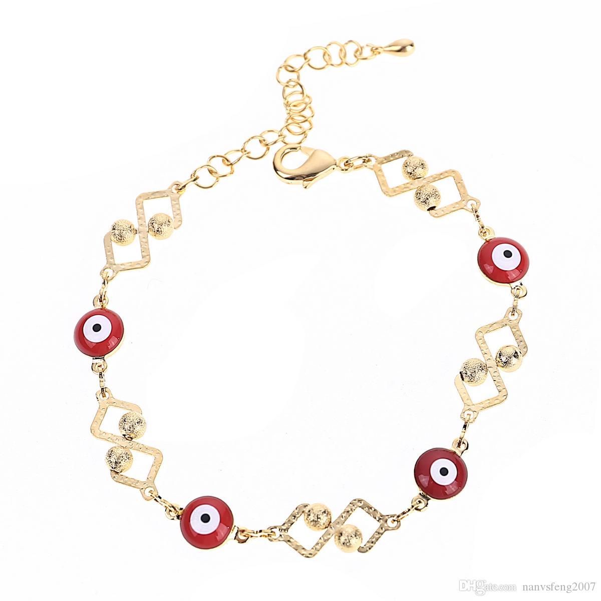 Cadena de metal de oro pulsera clara redonda para las mujeres mal de ojo turco afortunado de moda simple pulsera de los encantos