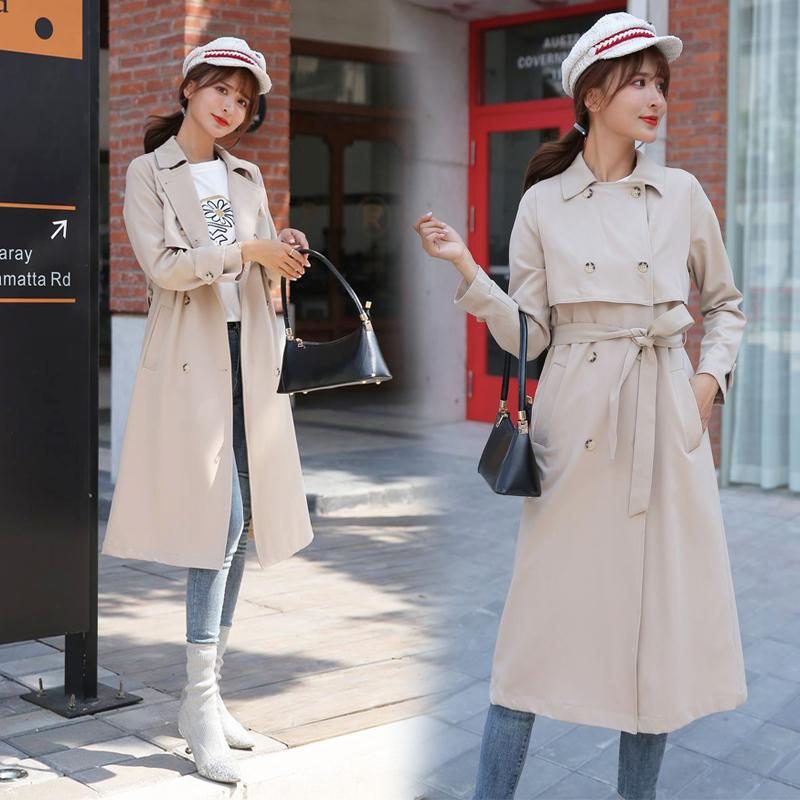 Spring Autumn Long Trench Coat women new Casual Slim Double Breasted chic Coat with Pocket ka905