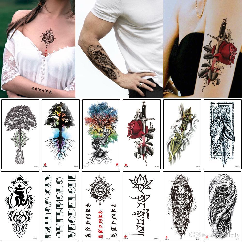 Falso impermeable Tatuaje temporal Henna Bloom Carta Rose Flor Máquina Árbol de brazo para mujer Hombres Maquillaje Cuerpo Sexy Tatoo Etiqueta Estilo Escuela