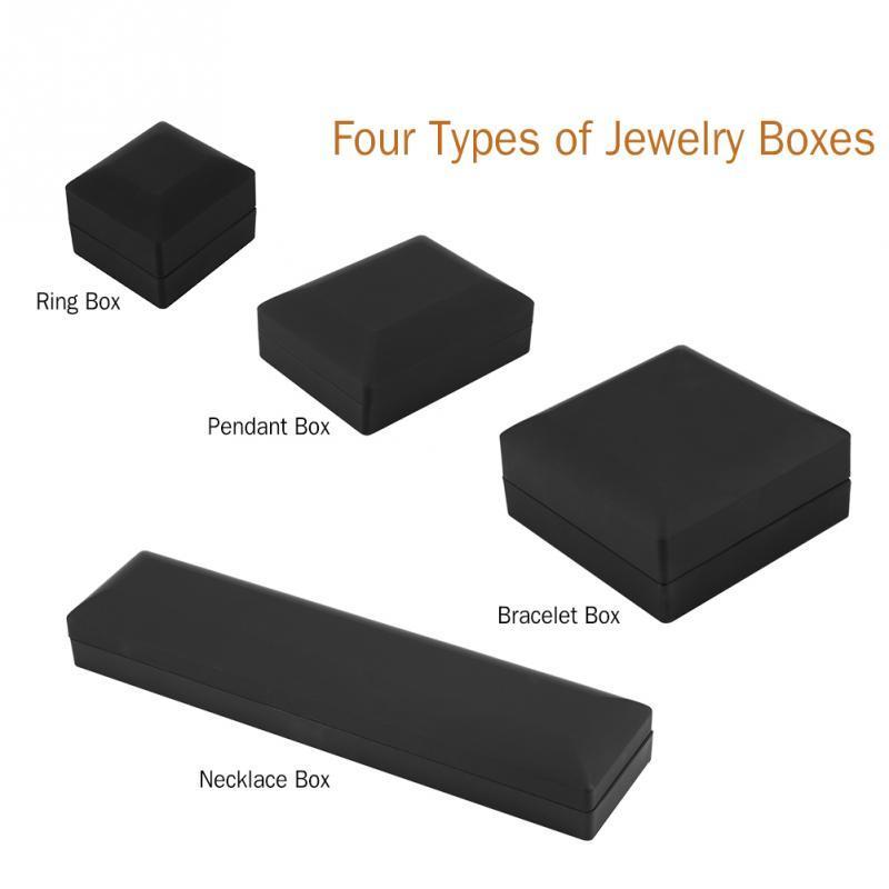 LED Lighted Necklace Bracelet Gift Box Wedding Engagement Ring Jewelry Display