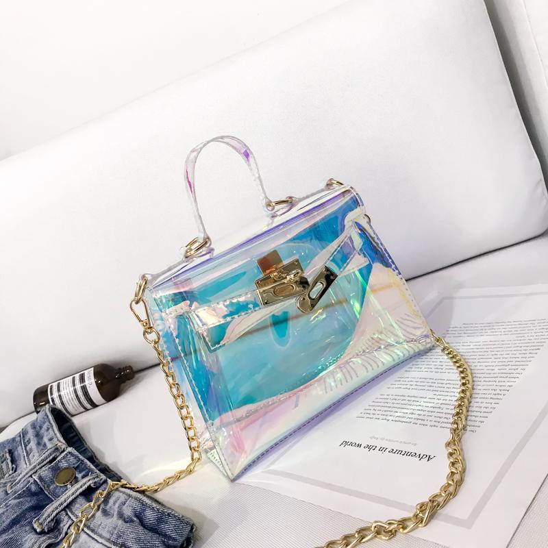 Onfashion Funny Cup Shaped Handbag Laser Jelly color Evening Bag Shoulder Bag Small Clutches Bag