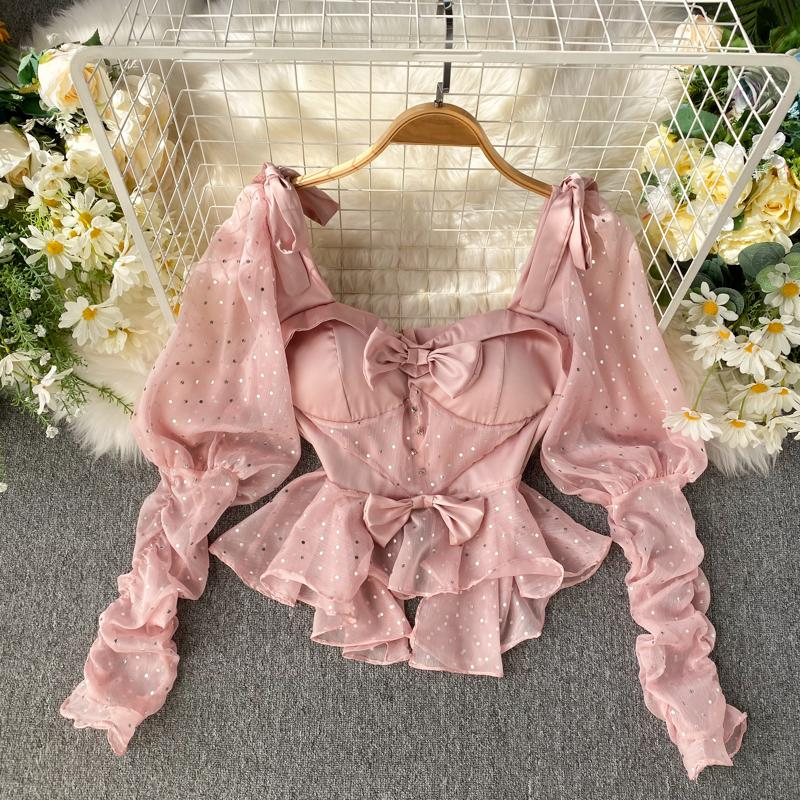vestuário 2019 nova moda das mulheres Ruffled encabeça Collar Praça manga Puff mulheres tops e blusas