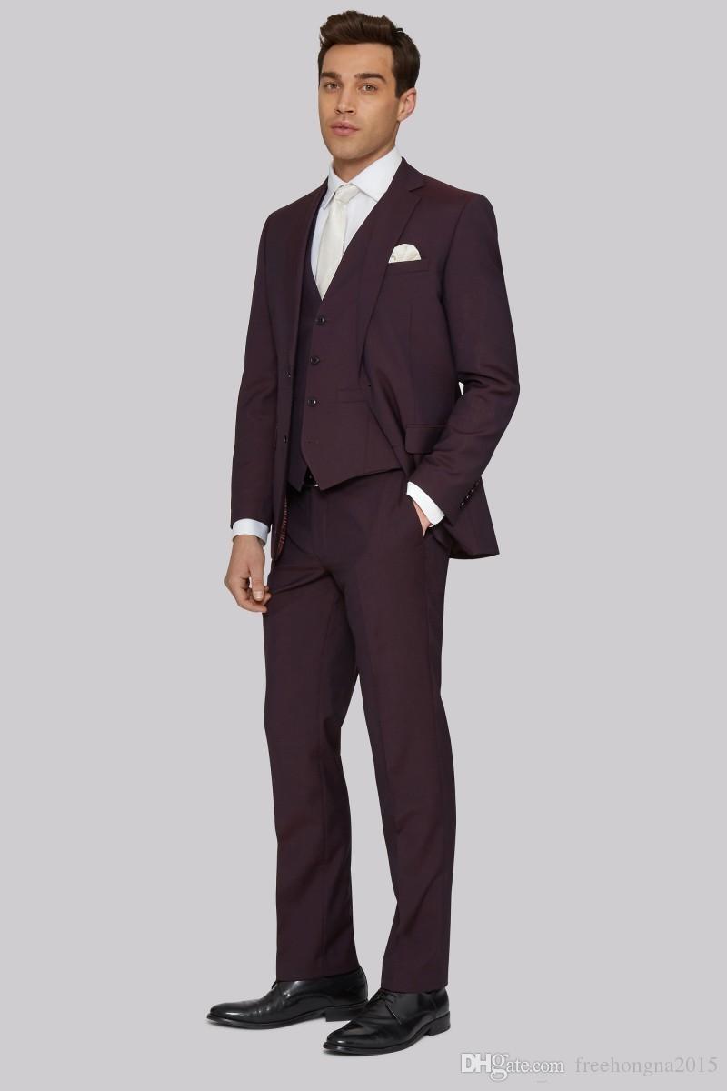 Özel Yakışıklı Erkekler Wedding için smokin Suits Üç adet Koyu Burgonya Damat Gelin Suits Özel Made Groomsmen Suit (Ceket + Yelek + Pantolon)