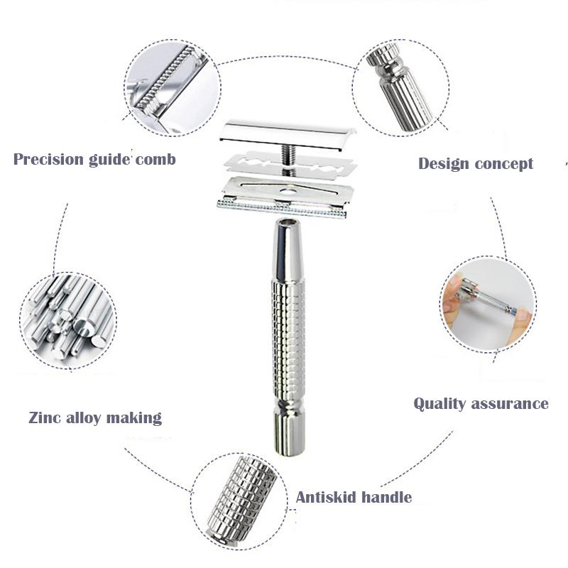 Vintage Useful Durable Chrome Men's Manual Hand Safety Razor Double Edge Shaver