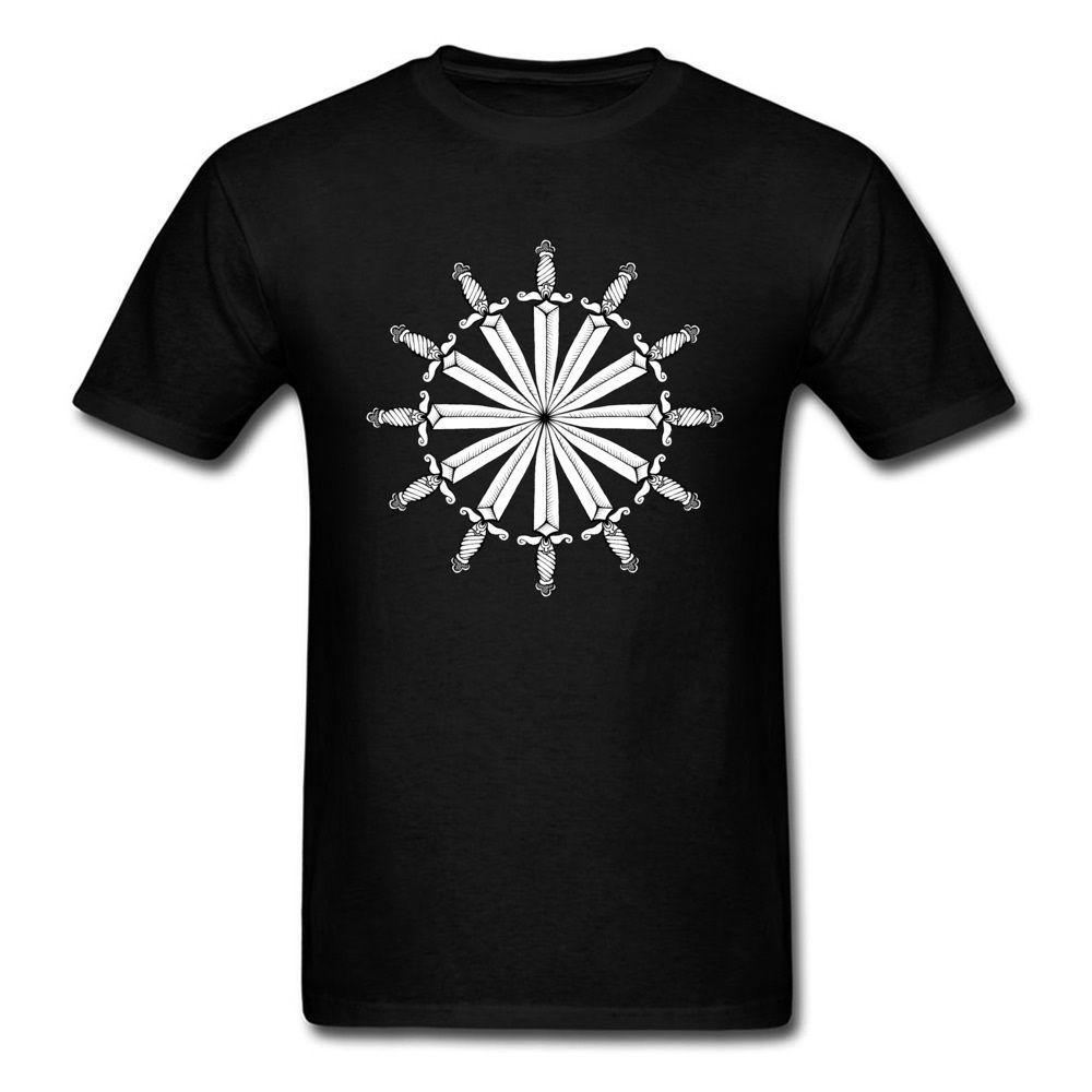 البحارة سكين دائرة الدفة أبيض أسود المحملة عارضة قمصان 2019 الرجال رخيصة مخصصة T قميص قصير الأكمام القطن نسيج عادي
