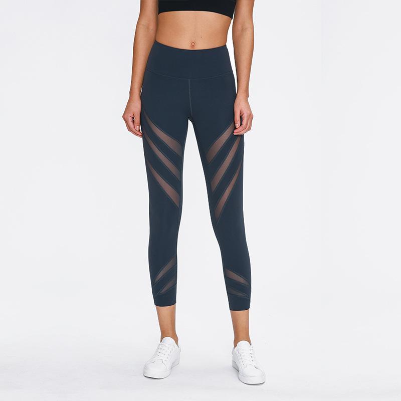 Malha de ventilação Correndo Leggings Canadá marca Designer luo Atlético Calças Mulheres Yoga Roupas Senhoras Esportes Leggings Pants Yoga apertadas