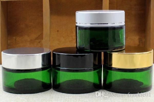 altın gümüş siyah beyaz kapak ucuz fiyat ile vape 50g Cam Kozmetik Krem Kavanoz 50ml balmumu konteyner yeşil konteyner zulası depolama