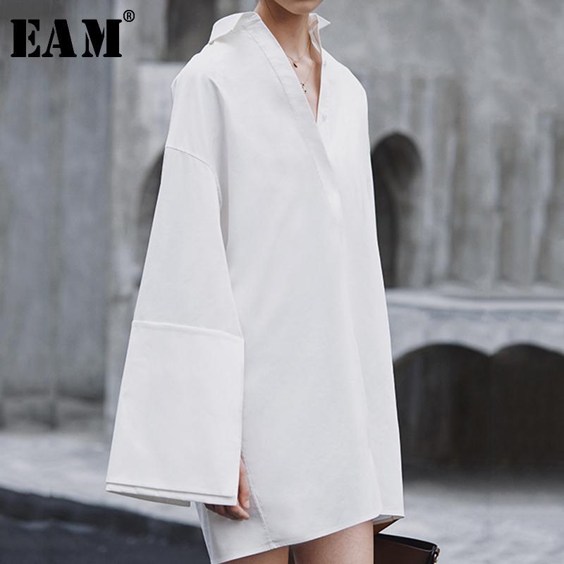 [EAM] 2020 Yeni Bahar Sonbahar Yaka Uzun Kollu Eklenmiş Gevşek büyük boy Mizaç Elbise Kadınlar Bluz Moda JX816 Turn-down