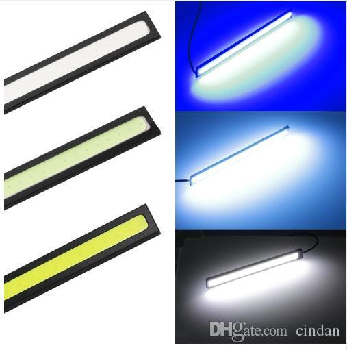 2pcs 17cm 유니버설 주간 러닝 라이트 COB DRL LED 자동차 램프 외부 조명 자동 방수 자동차 스타일링 DRL 램프 주도