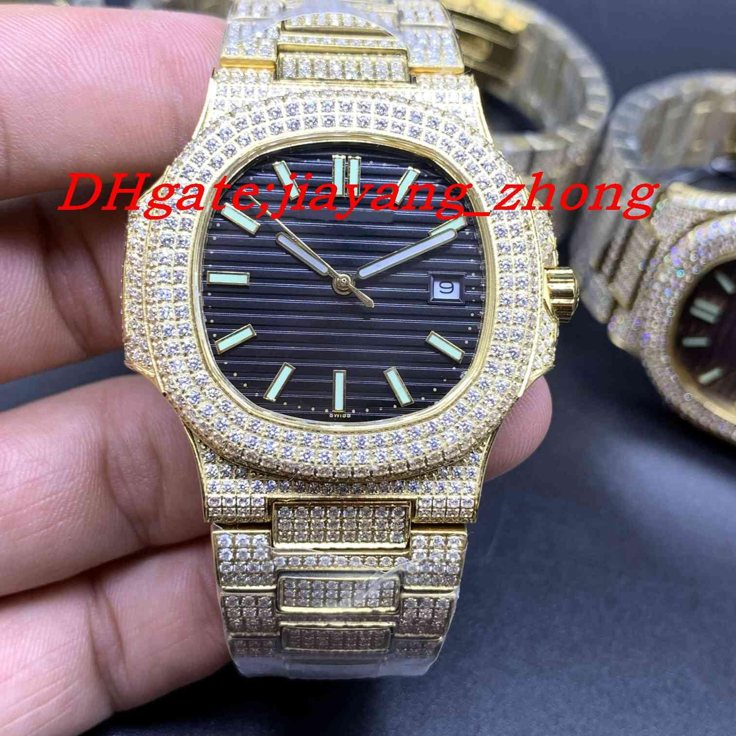 orologio Tutti gli uomini eleganti di Diamond ghiaccio con orologio meccanico automatico precisione di temporizzazione vigilanza di modo di alta qualità degli uomini cronometro gratuitamente freig