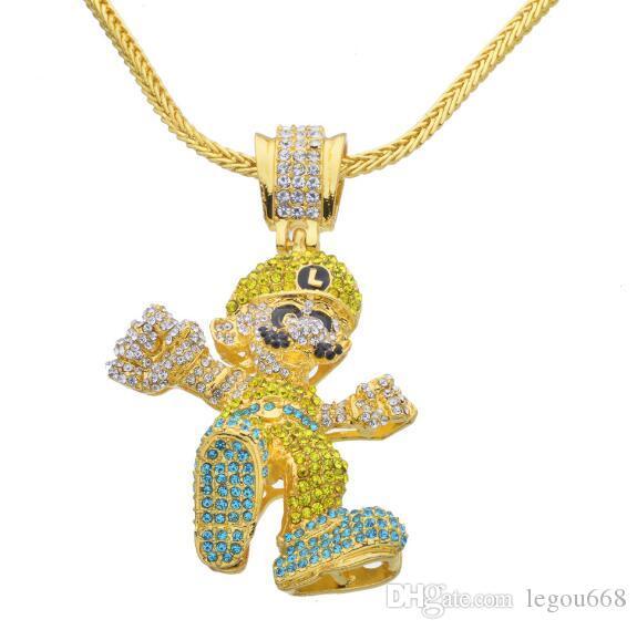 Hip Hop Glacé plaqué or Collier de grande taille Cartoon jeu Pendentif bling bling Bijoux pour Hommes Femmes wl1139