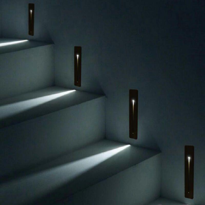 Einbau 3W LED Treppenlicht Rechteck AC100-240V Indoor-LED-Wand-Leuchter-Beleuchtung Treppe Schritt Treppe Flur Treppe Lampe
