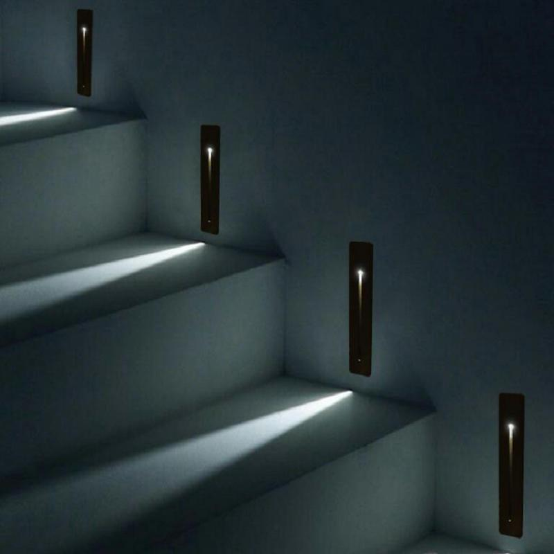 Recessed 3W LED Stair Light Rectangle AC100-240V Indoor led wall Sconce lighting Stairs Step stairway Hallway staircase lamp